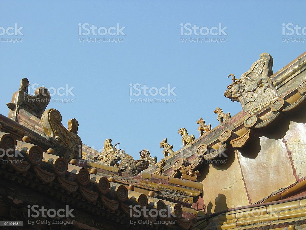 Forbidden City, Roof Detail 2, Beijing royalty-free stock photo