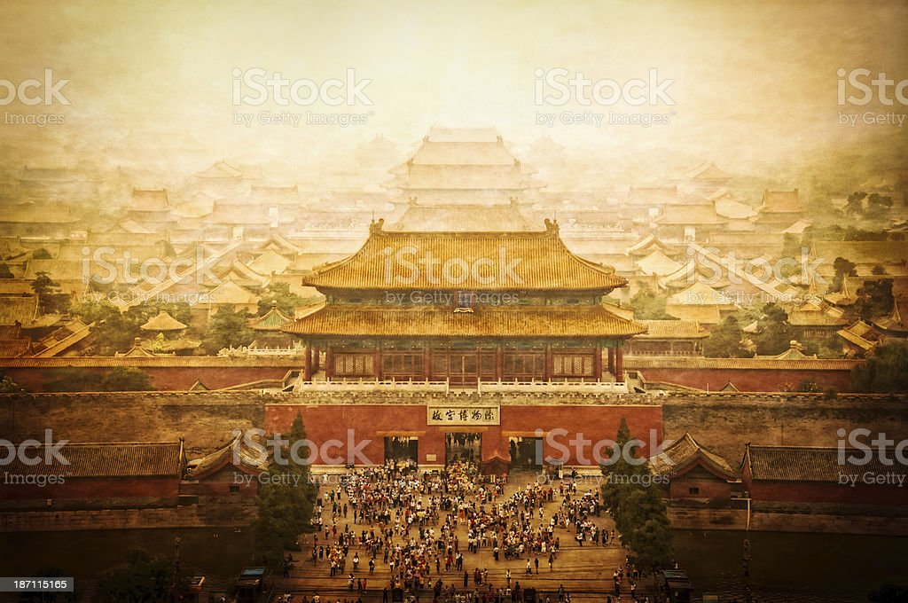 Forbidden city vintage view, Beijing, China stock photo