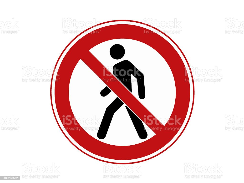 Forbidden sign on the white background stock photo