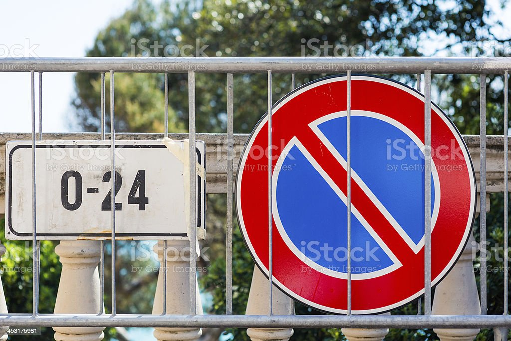 Forbidden sign with barricade royalty-free stock photo