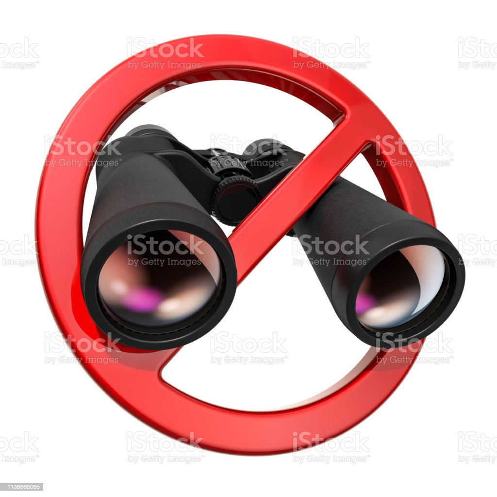 Forbidden sign with binoculars. 3D rendering isolated on white background stock photo