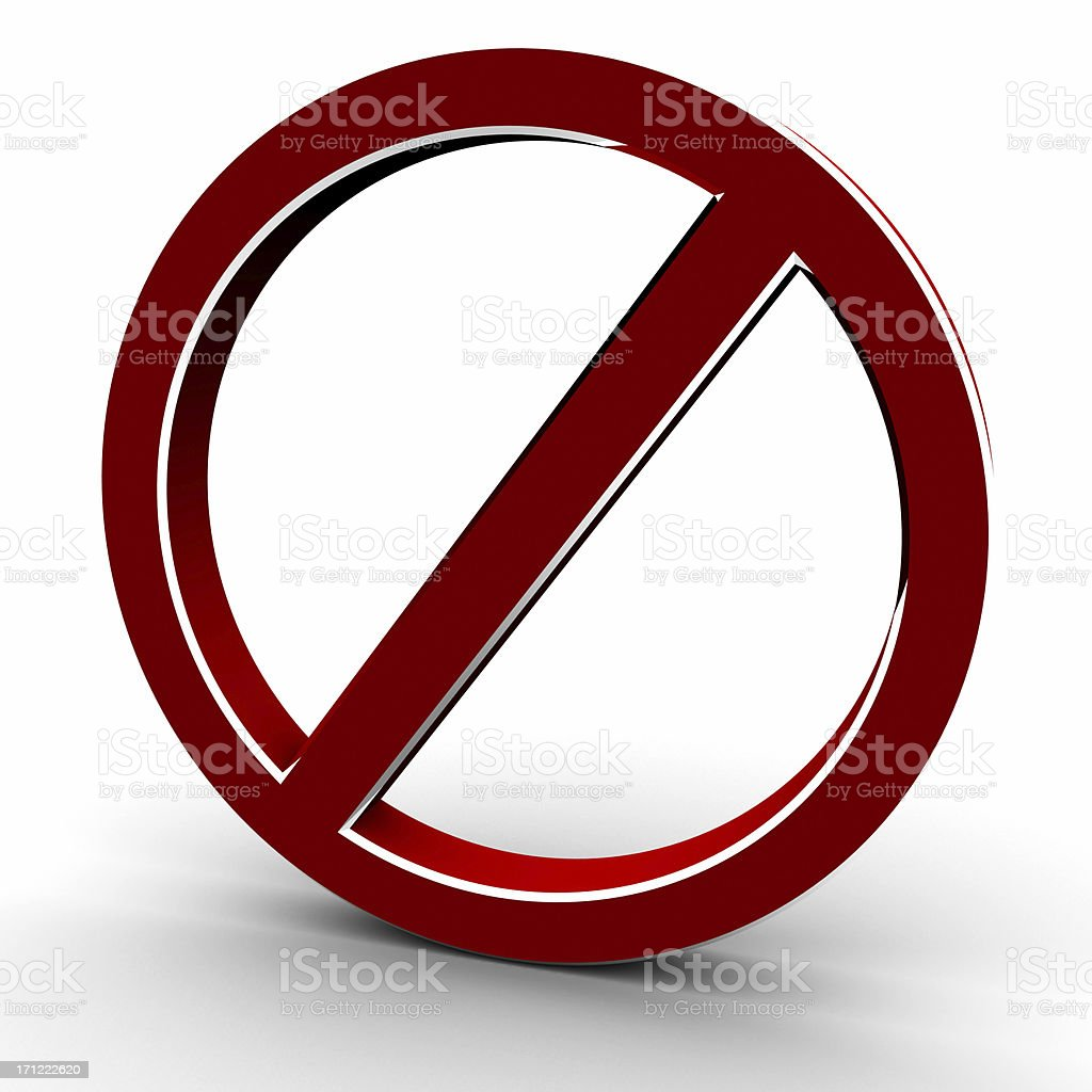 Forbidden sign with clipping path royalty-free stock photo