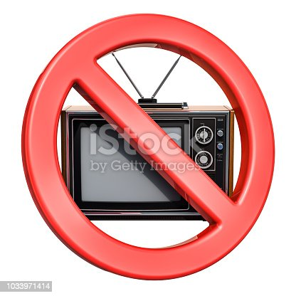 istock Forbidden sign with TV-set, 3D rendering isolated on white background 1033971414