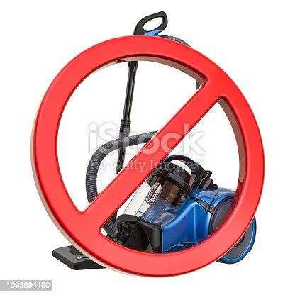 istock Forbidden sign with vacuum cleaner. 3D rendering isolated on white background 1093694480