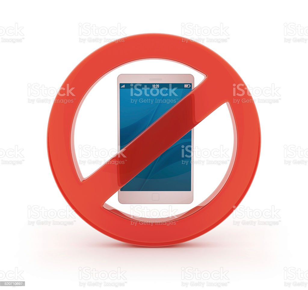 3D forbidden symbol with cellphone stock photo