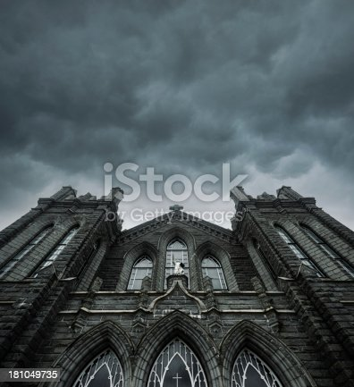 An ominous sky hangs over a church.