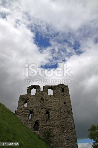 The ruins of Clun Castle, a border fort on the Welsh marches between England and Wales.