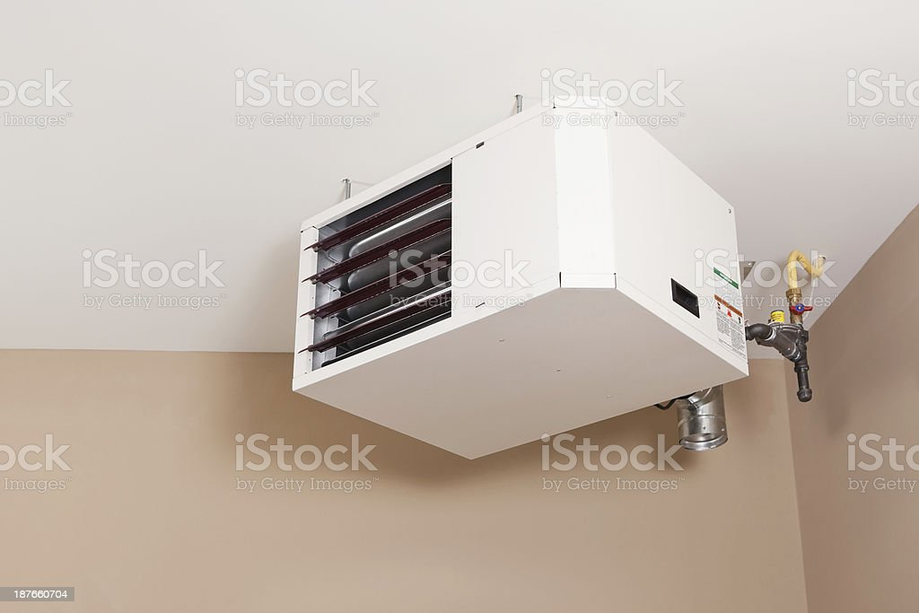 Forced Air Natural Gas Ceiling Mounted Garage Heater stock photo