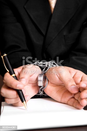 istock Forced contract signature 503344061