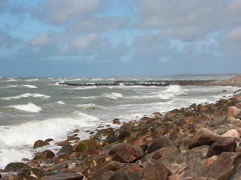 Forceful and devastating Denmark Northern Coastline with Horizon and waves