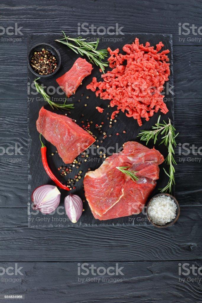 다진 고기 및 쇠고기 등심의 - 로열티 프리 건강한 식생활 스톡 사진