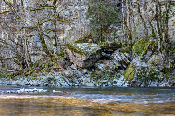 Forces of nature, rocks pushed together in the Wutach Gorge. stock photo