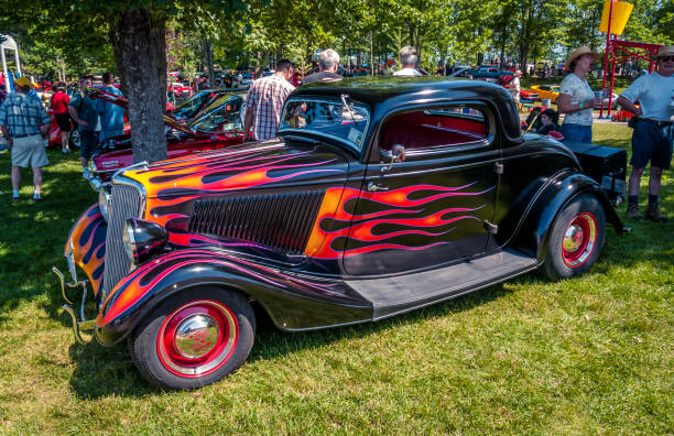 1934 Ford 3 window coupe hot rod - foto stock