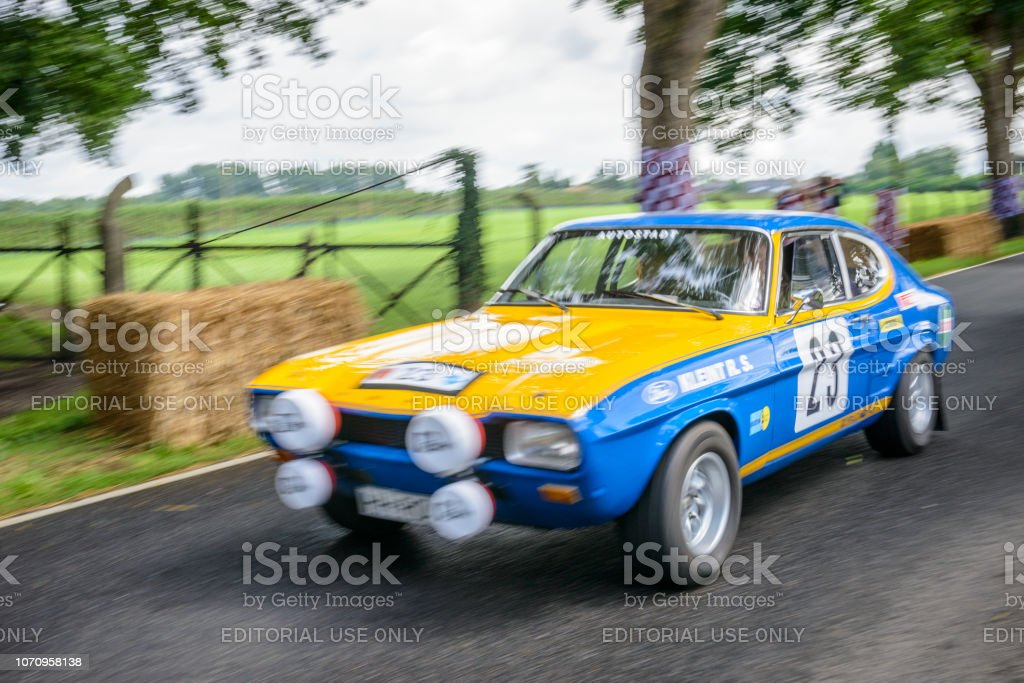 Ford Capri 2600 RS classic rally car driving at high speed stock photo