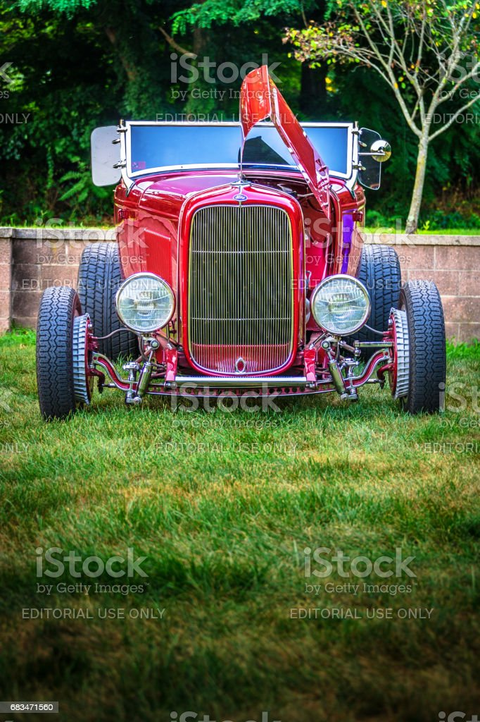 1932 Ford Cherry Red Hot Rod - Mstr Portrait stock photo
