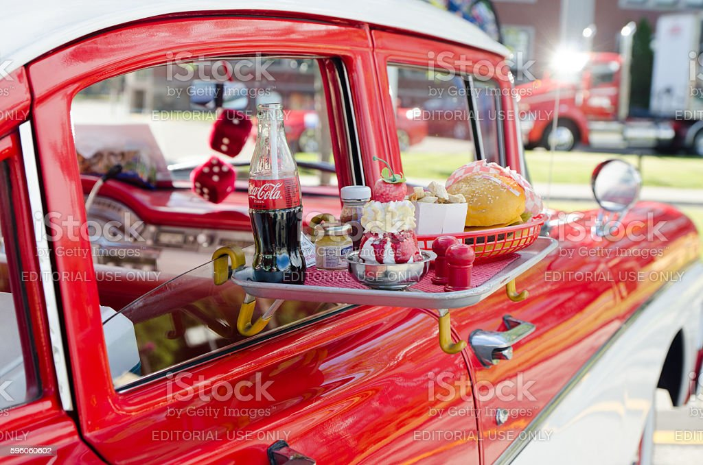 Ford Custom 300, 1958, white and red with food tray stock photo