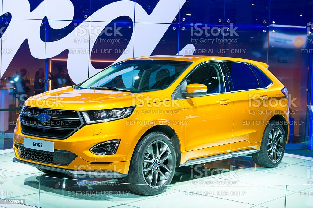Ford Edge mid-sized crossover SUV front view stock photo