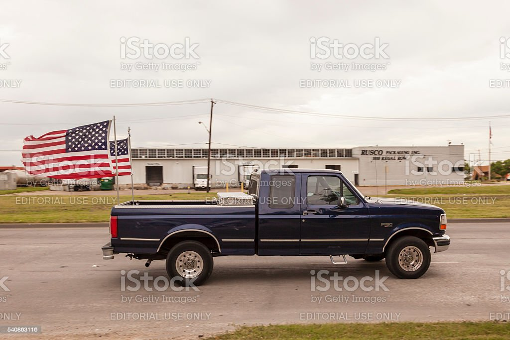Ford F 150 Pickup Truck With American Flags Stock Photo Download Image Now Istock