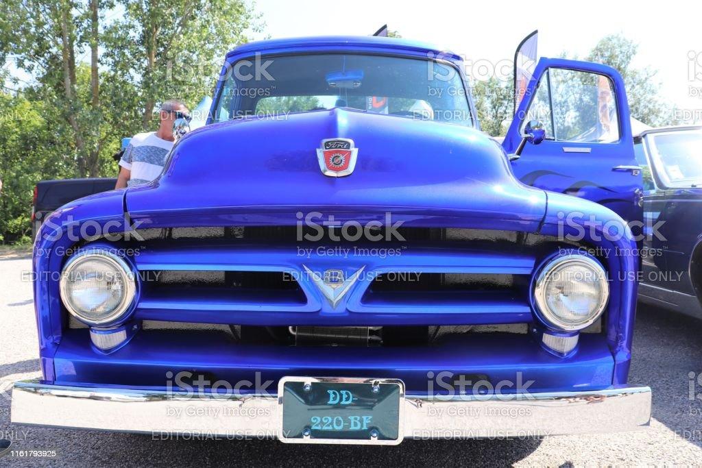 Ford F100 V8 blue pickup car, vintage car - 5 th American Bike Show &...
