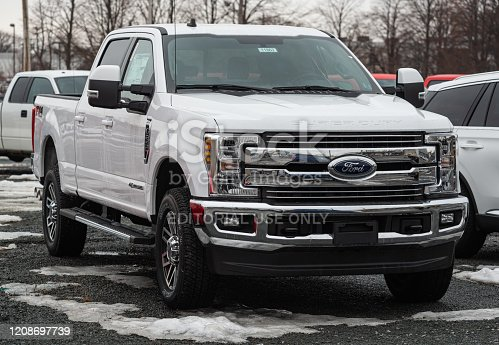 Halifax, Canada - February 25, 2020 - 2020 Ford F-250 pickup truck at a dealership in Halifax's North End.
