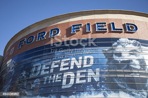 Detroit, MI, USA - October 25, 2015: Ford Field located in Detroit, Michigan. Ford Field is an indoor American football stadium and home to the Detroit Lions of the NFL.