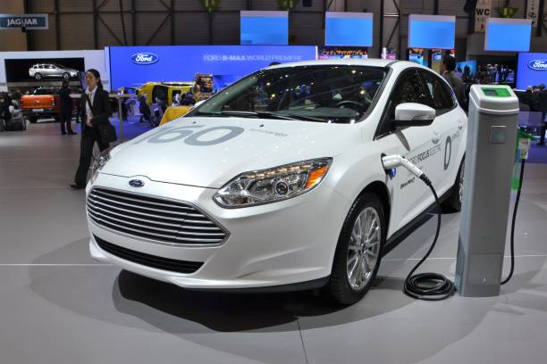 ford focus electric on the motor show - ford focus stock photos and pictures