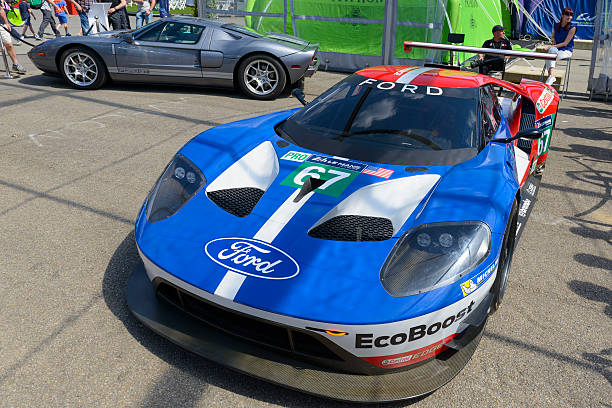 ford gt 2016 race car in the paddock - spa belgium stock photos and pictures