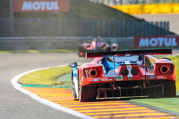 Ford GT Chip Ganassi Racing race car Spa, Belgium - May 7, 2016: Ford Chip Ganassi Racing Ford GT race car driving out of a corner. The no. 67 Ford GT finished second in the LMGT Pro class. The car is driving around the Spa Francorchamps race track during the WEC 6 Hours of Spa-Francorchamps. The team participates in the 2016 FIA World Endurance Championship (WEC). spa belgium stock pictures, royalty-free photos & images