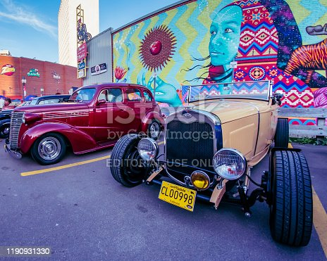 483959606 istock photo 1930 Ford Model A hot rod & 1938 Chevy sedan 1190931330