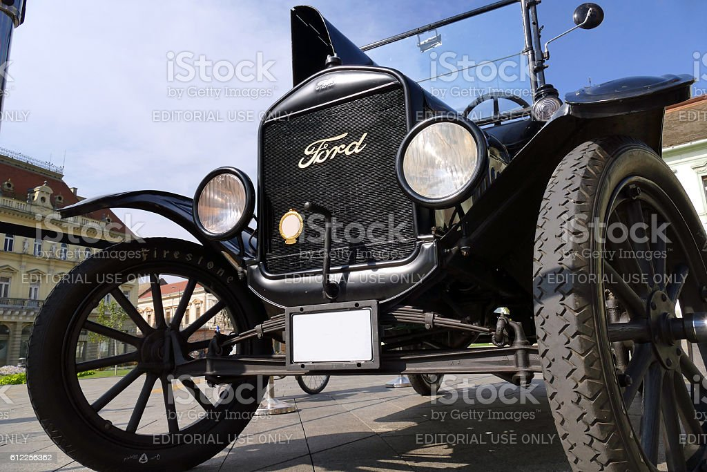 Ford Model T from 1921 parked in the town square stock photo