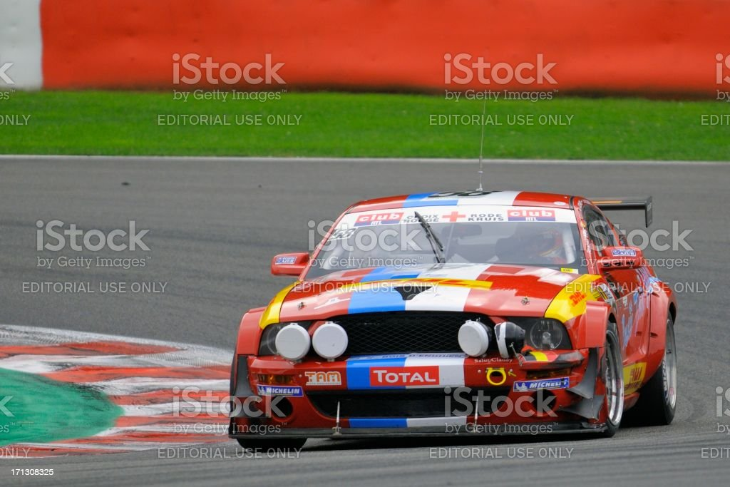 Ford Mustang GT3 race car at the race track stock photo