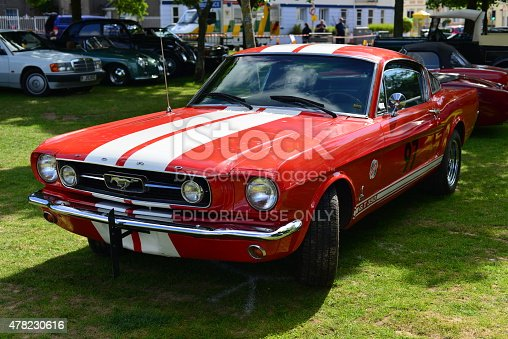 Jersey, U.K. - June 6, 2015: The Ford Shelby Mustang GT500 Cobra classic car at the Jersey car festival at People's park.