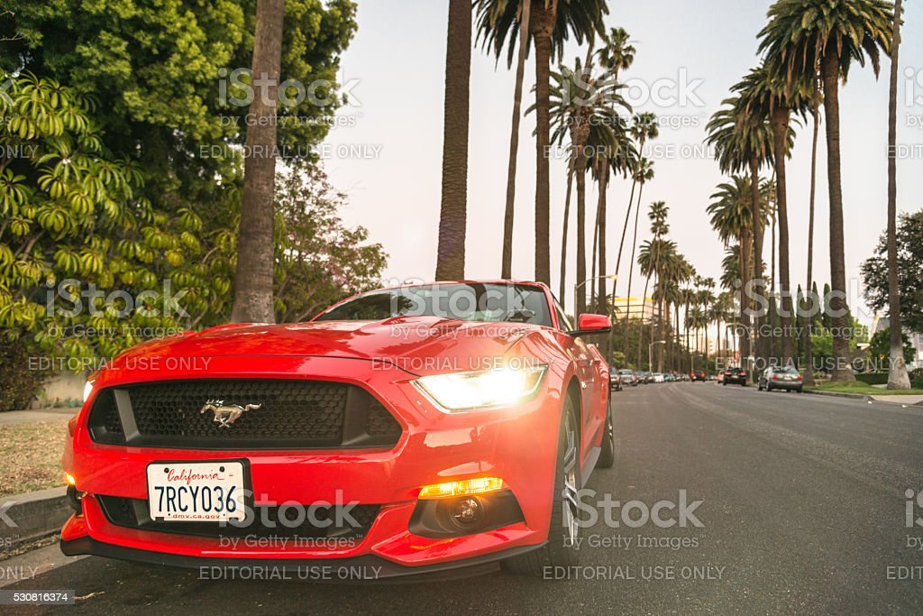 Ford Mustang parked on Beverly Hills - LA stock photo