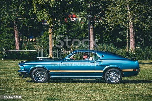 Heidenheim, Germany - July 8, 2018: 1969 Ford Mustang at the 2. Oldtimer day in Heidenheim an der Brenz, Germany.