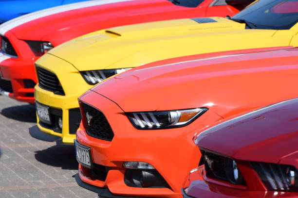 Ford Mustang vehicles in a row stock photo