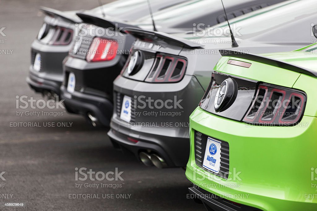 Ford Mustangs in a Row stock photo