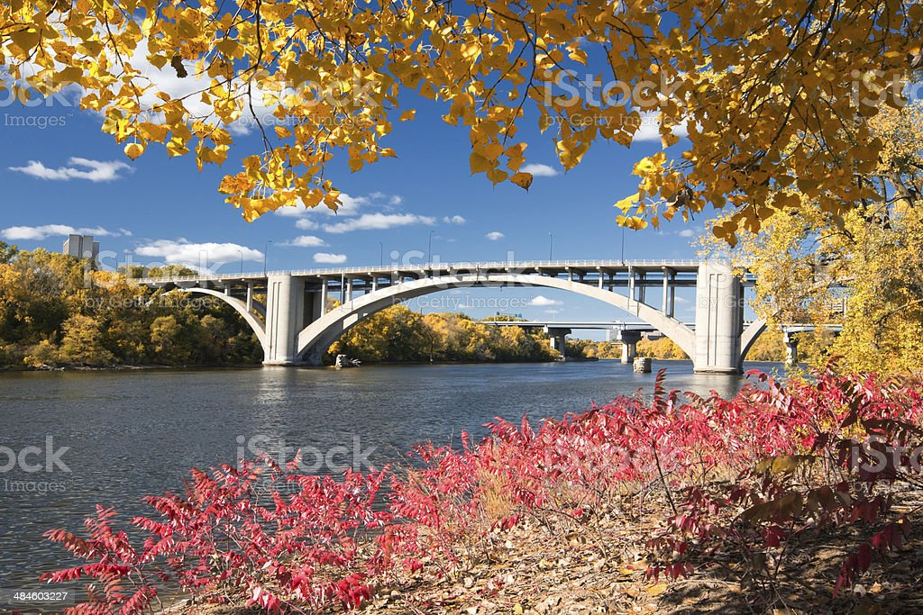 Ford Parkway bridge over the Mississippi River, Minneapolis stock photo