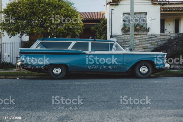 Buenos Aires, Argentina - February 2019: Ford Ranch Wagon 1959 in front of residential building