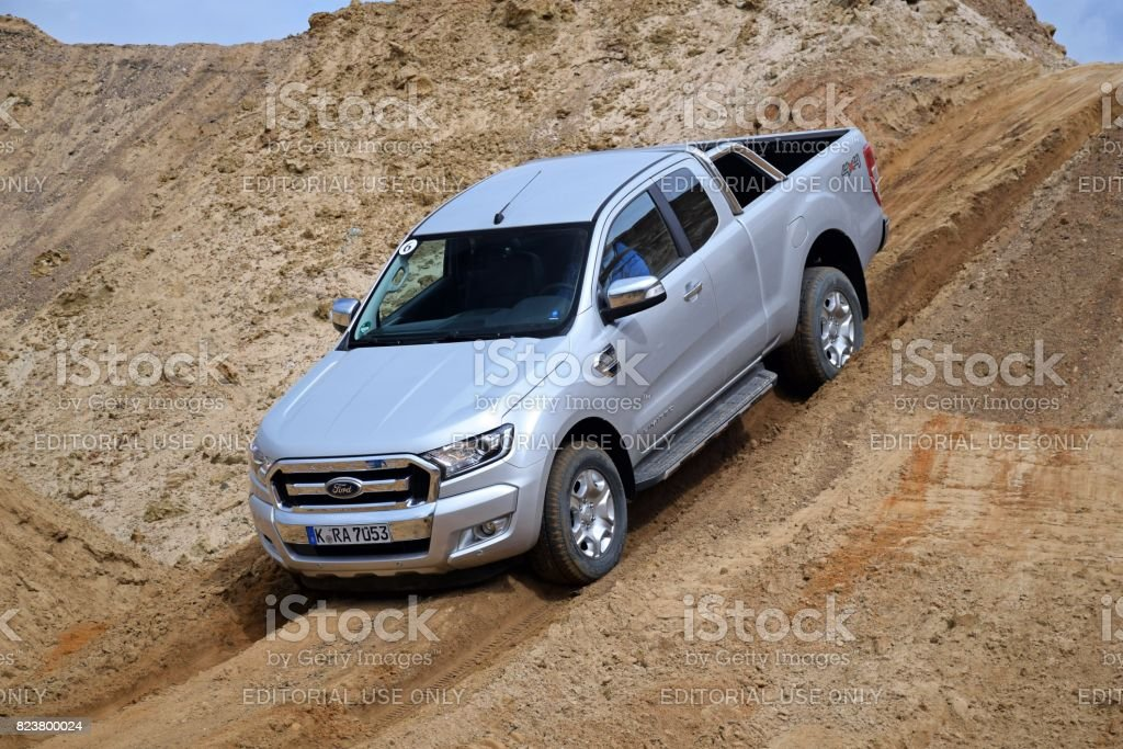 Ford Ranger on the offroad stock photo