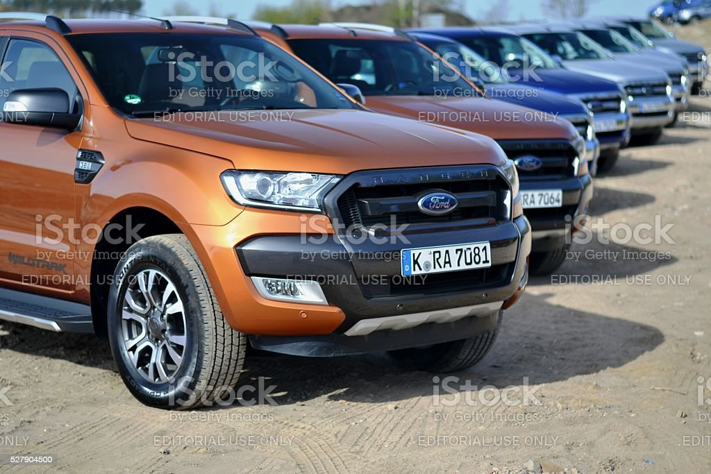 Ford Ranger vehicles in a row stock photo