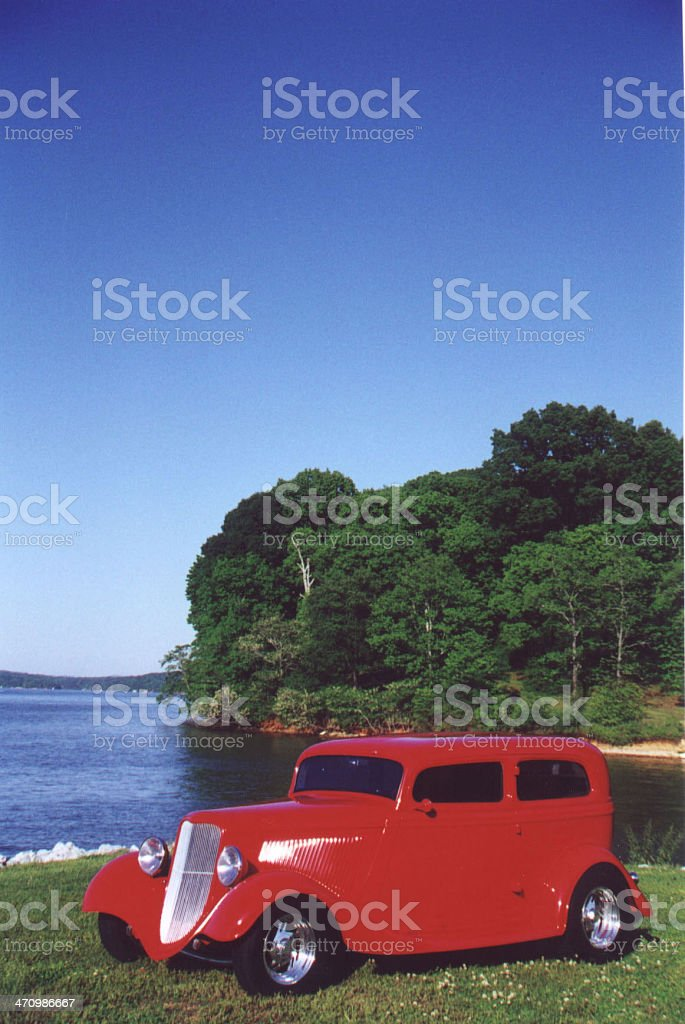 Ford Street Rod with lots of blue sky. stock photo