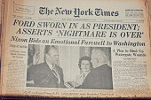 'New York, New York, USA - November 3, 2012: A close up of the front page of the The New York Times newspaper dated August 10, 1974. The New York Times reporting Vice President Gerald Ford sworn in as the 38th President of the United States, after the Watergate scandal.'