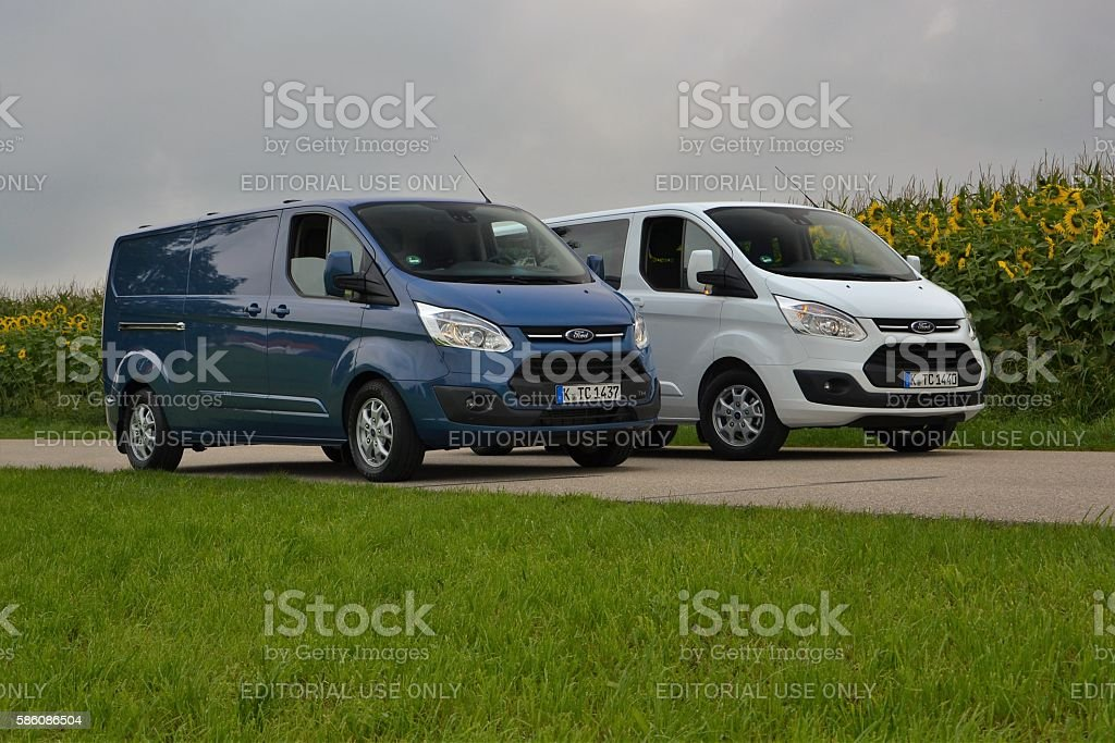 Ford Transit Custom vehicles on the road stock photo