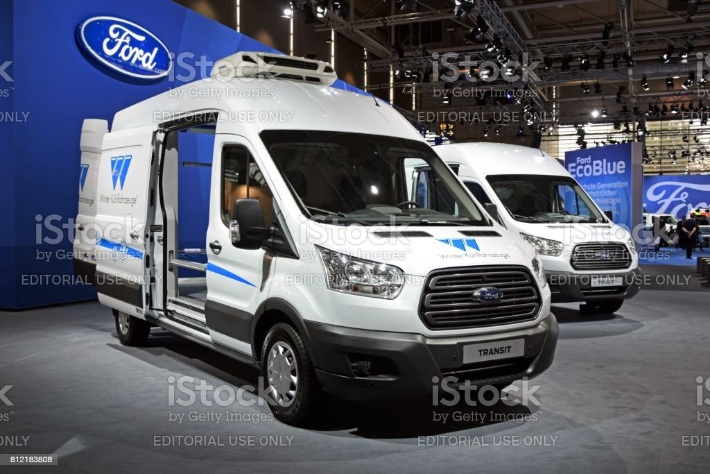 Ford Transit vehicles on the motor show stock photo