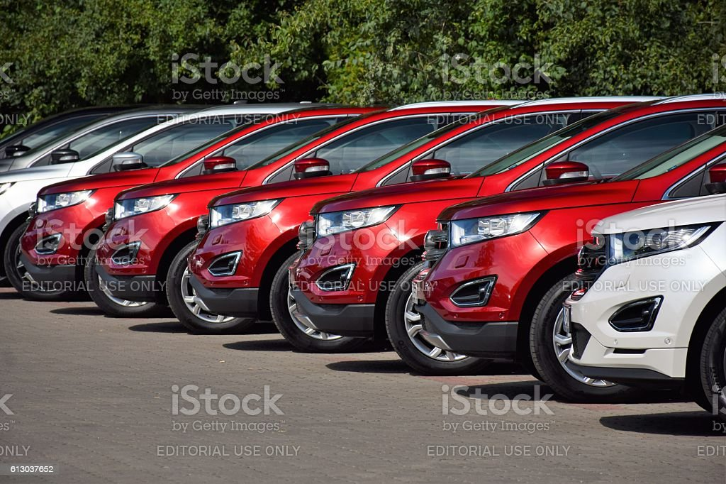 Ford vehicles in a row stock photo