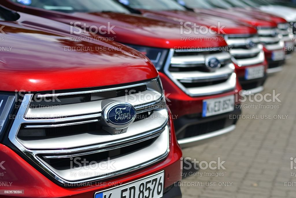 Ford vehicles on the parking stock photo
