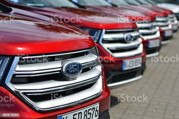 Warsaw, Poland - August 17th, 2016: Ford Edge vehicles parked in a row before the presentation. The first geneneration of Edge was debut in 2006 on the market. The newest generation was debut in 2014. This model is the largest SUV from Ford on the European market and medium size SUV on the American market.