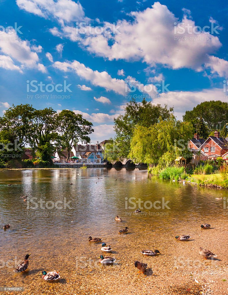 Fordingbridge and the River Avon in Hampshire stock photo