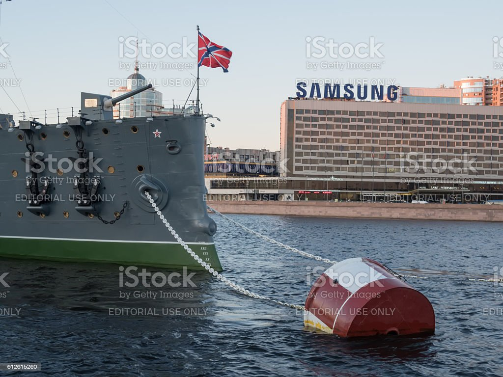 Forecastle gun of the cruiser Aurora stock photo
