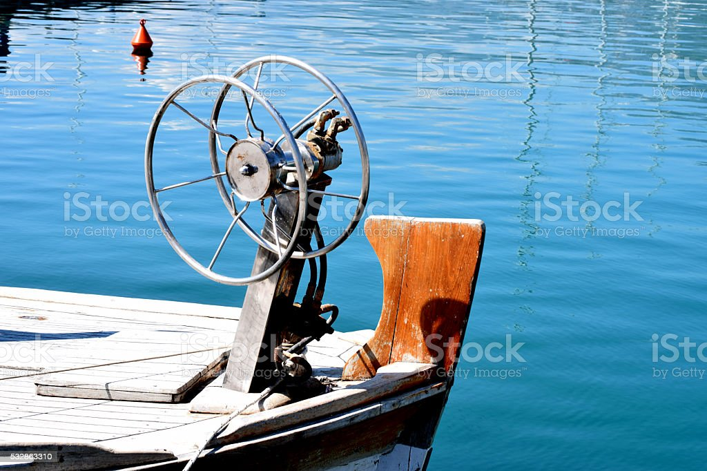 Forecastle of fishing boat with net winch on it stock photo